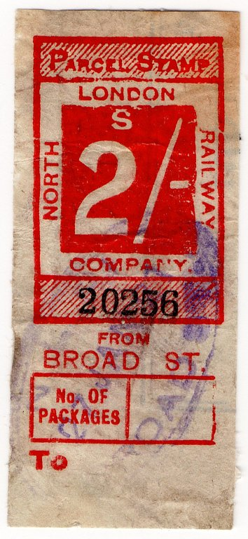 (I.B) North London Railway : Parcel 2/- (Broad Street)