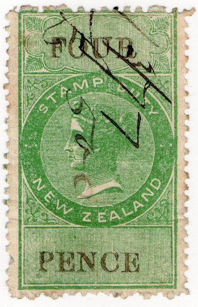 (I.B) New Zealand Revenue : Stamp Duty 4d (reversed watermark)