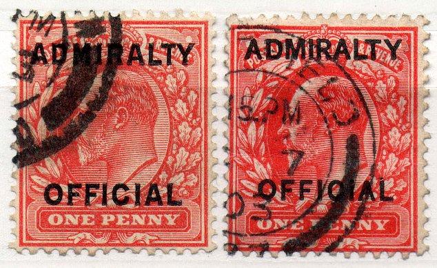 (I.B) Edward VII Postal : Admiralty Official Overprints (both settings)
