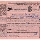 (I.B) George VI Revenue : Wireless Licence 20/- (1952)