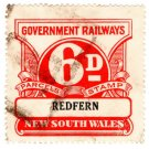 (I.B) Australia - NSW Railways Parcel 6d (Redfern) inverted watermark