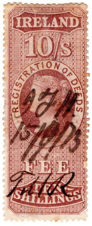 (I.B) QV Revenue : Ireland Registration of Deeds 10/- (1872)