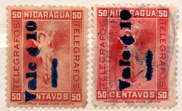 (I.B) Nicaragua Telegraphs : Overprint Collection (1905)