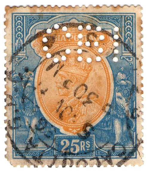 (I.B) India Postal : 25R perfin (Chartered Bank International)
