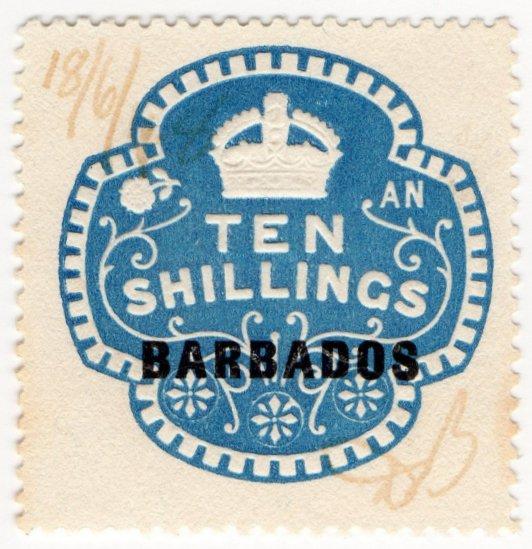 (I.B) Barbados Revenue : Duty 10/-