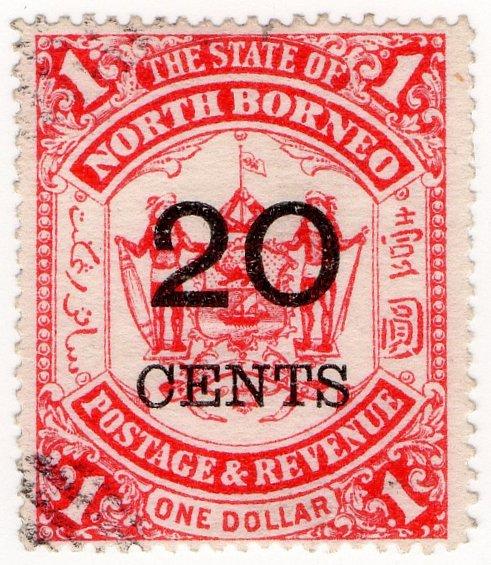 (I.B) British North Borneo Postal : State 20c on $1 OP