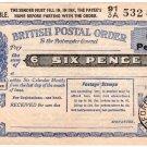 (I.B) George VI Revenue : Postal Order 6d (Ammanford 1955)