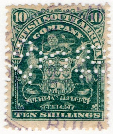 (I.B) Rhodesia/BSAC Revenue : Duty 10/-