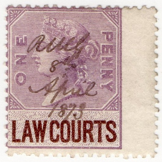 (I.B) QV Revenue : Law Courts (Scotland) 1d (inverted watermark)