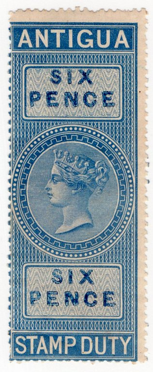 (I.B) Antigua Revenue : Duty Stamp 6d