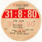 (I.B) GB Revenue : Car Tax Disc (Triumph 1980)