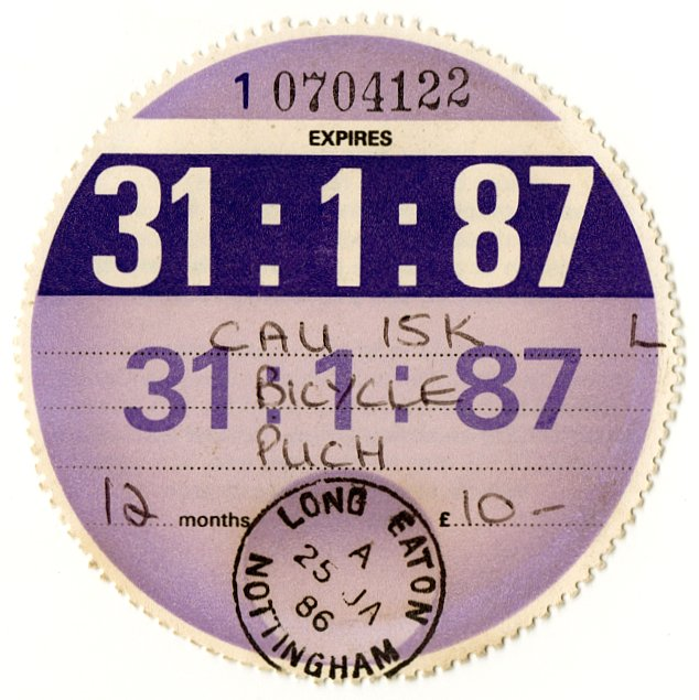 (I.B) GB Revenue : Car Tax Disc (Puch Motorcycle 1987)