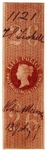 (I.B) QV Revenue : Life Policy 2/6d (1854)