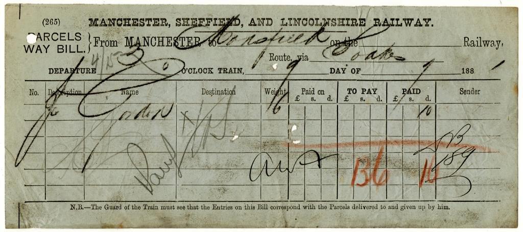 (I.B) Manchester, Sheffield & Lincolnshire Railway : Waybill (1881)