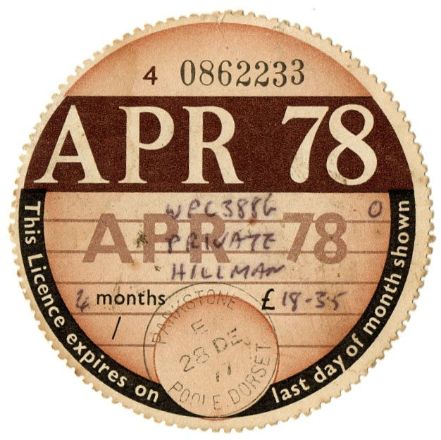 (I.B) GB Revenue : Car Tax Disc (Hillman 1978)