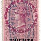 (I.B) Straits Settlements Revenue : Duty Stamp 20c
