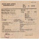 (I.B) South-West Africa Revenue : Wheel Tax £6 10/- (1944)