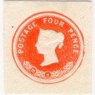 (I.B) QV Postal : Embossed Die 4d (1886)