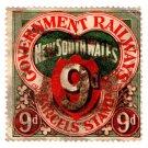 (I.B) Australia - NSW Railways Parcel 9d (sideways NSW over R watermark)