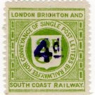 (I.B) London Brighton & South Coast Railway : Letter 4d on 3d OP