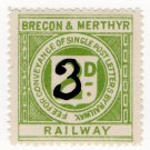 (I.B) Brecon & Merthyr Railway : Letter Stamp 3d on 2d OP