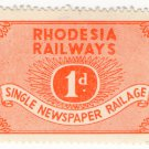 (I.B) Rhodesia Railways : Newspaper Railage 1d
