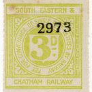 (I.B) South Eastern & Chatham Railway : Letter Stamp 3d