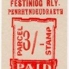 (I.B) Festiniog Railway : Parcel 3/- (Penrhyndeudraeth)