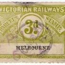 (I.B) Australia - Victoria Railways : Parcels 3d (Melbourne) inv watermark