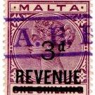 (I.B) Malta Revenue : Duty Stamp 3d on 1/- OP (AEB pre-cancel)