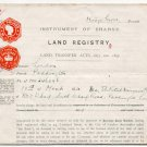 (I.B) George V Revenue : Impressed Duty £6 5/- (Land Registry) complete document