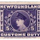 (I.B) Canada Revenue : Newfoundland Customs Duty 5c