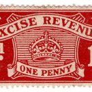 (I.B) Excise Revenue : 1d Lake (1916)