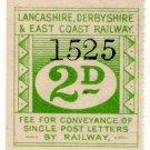 (I.B) Lancashire Derbyshire & East Coast Railway : Letter Stamp 2d