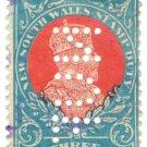 (I.B) Australia - NSW Revenue : Stamp Duty 3/- (NUF perfin)
