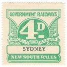 (I.B) Australia - NSW Railways Parcel 4d (Sydney) inverted watermark