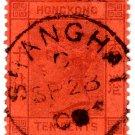 (I.B) Hong Kong Postal : 10c Red on Orange (Shanghai postmark)