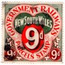 (I.B) Australia - NSW Railways : Parcel Stamp 9d (sideways watermark)