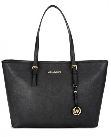 Michael Kors Jet Set Travel Saffiano Leather Tote (Black) - 30t5GTVT2L-001