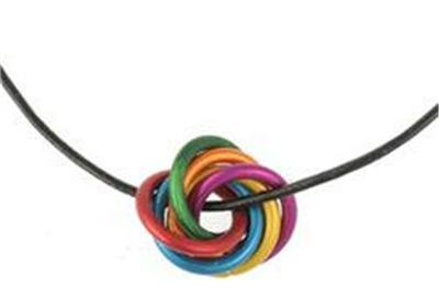 Gay Pride Rainbow Titanium Unity Rings and Necklace