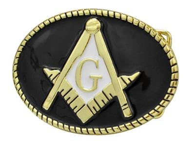 Masonic Oval Belt Buckle Enamel Black and Gold Compass G Masons Freemason Metal