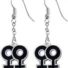 Lesbian Symbol Double Female Pewter Hook Earrings