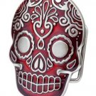 Belt Buckle Sugar Skull Red Mexican Katrina Dia De Muertos Day of the Dead