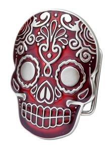 Belt Buckle Sugar Skull Red Mexican Katrina Dia De Muertos Day of the Dead