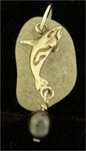 Sea Glass with Orca Whale 0.925 Silver Pendant and Pearl