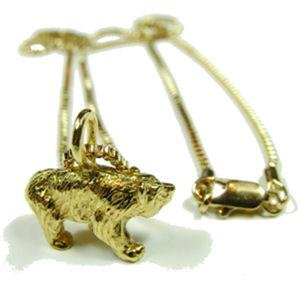 Gay Mens 3D Bear 24K Gold Plate Pendant Chain