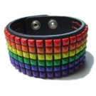 Leather Rainbow Stud Cuff Bracelet Gay Pride