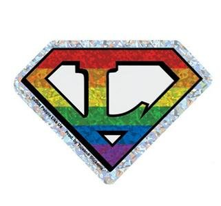Gay Pride Sticker Super L Lesbian Pride Rainbow Diamond Cut Holographic Style