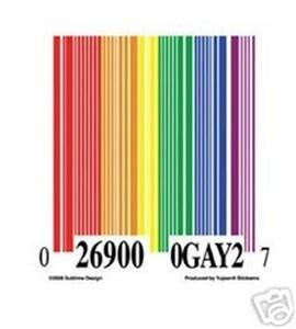 Rainbow Bar Code Bumper Sticker Lesbian Gay Pride