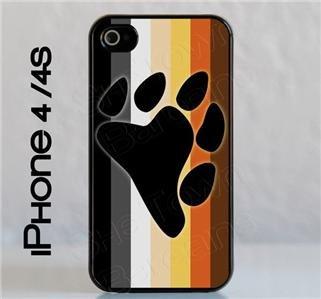 iPhone 4 / 4S Slim Hard Cell Phone Case Gay Bear Pride Flag w Bear Paw Slim Fit